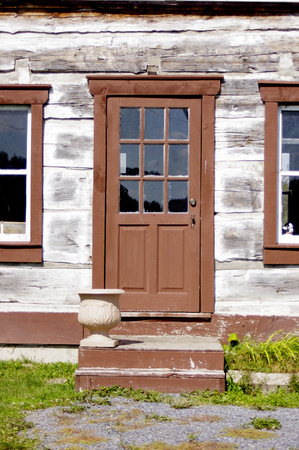 front house: front door of pioneer house Stock Photo