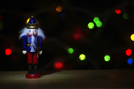 solider: Nutcracker in dark with blurred lights