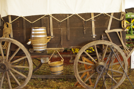 covered wagon: old fashion covered wagon with equipment Stock Photo