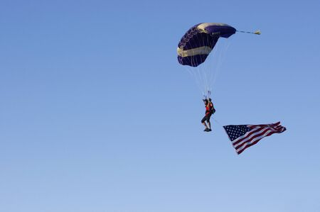sky driver with United States flag
