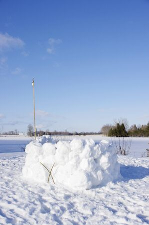large snow fort with flag