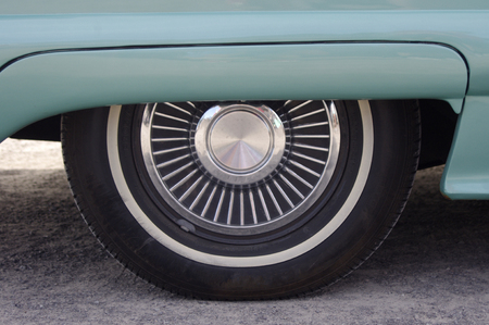 Vintage car with chrome wheel