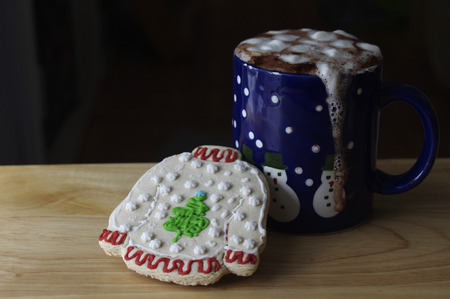 Ugly Sweater Christmas cookie with mug of Hot Chocolate Stock fotó