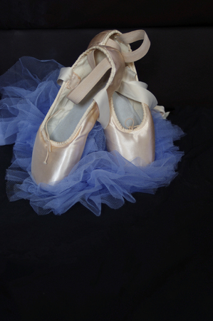 new pink ballet Pointe shoes with blue tutu on black Stok Fotoğraf
