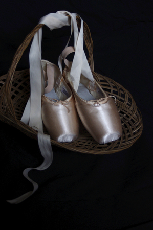 moody new pink ballet Pointe shoes in wood basket