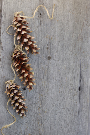 three pinecones with twine ribbon on rustic wooden background with copy space