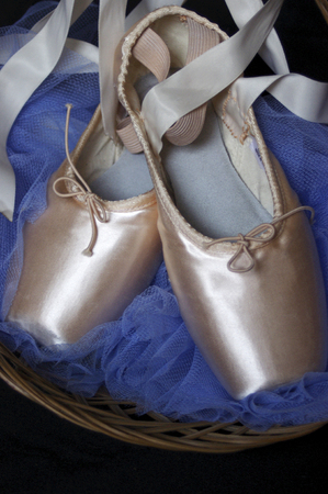 new pink Pointe ballet shoes Stock Photo