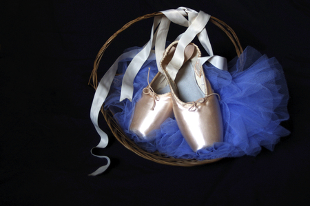 moody new pink Pointe ballet shoes basket with blue tutu