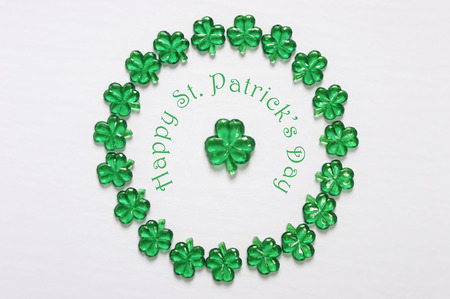Happy St Patricks Day glass shamrocks in circle
