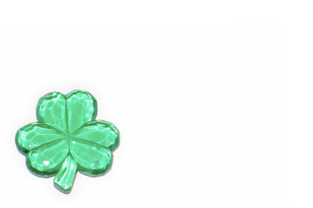 One glass shamrock on white with copy space Stock Photo