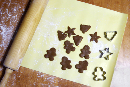 Gingerbread cookie dough on baking mat