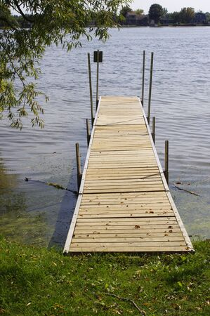 wooden dock in river