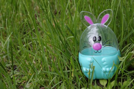 Easter egg bunny in green grass with copy space