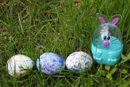 Easter egg bunny in green grass with speckled eggs and copy space