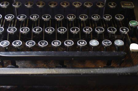 close up of antique typewriter keys Stok Fotoğraf - 142190524