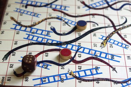 vintage snakes and ladders board game Stok Fotoğraf - 142190525