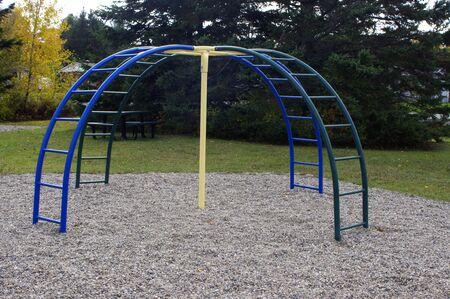 empty blue climber playground equipment at park
