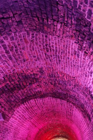 old brick tunnel roof in pink light Stok Fotoğraf