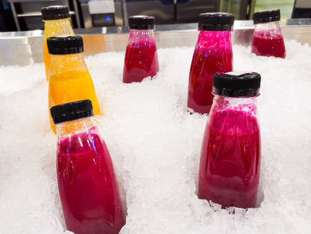 Fruit juices chilling in the ice shaved ice, summer dessert