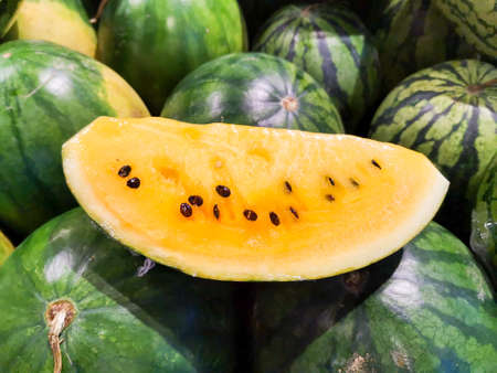 Yellow seeded watermelon, summer fruit, refreshing, tropical