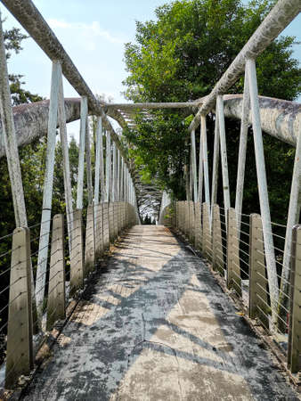 An overhead metal bridge walkway hiking through forest garden park, challenging concept