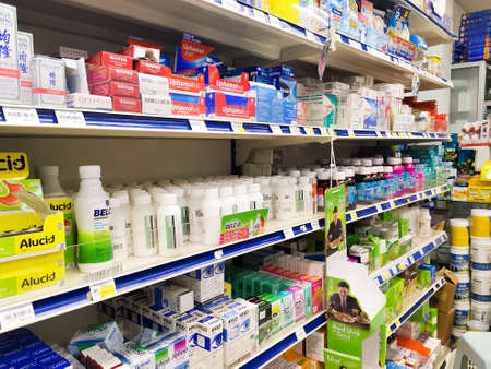Pharmacy shop, shelves of pharmaceutical and medical products