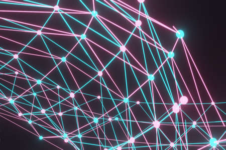 Neon Light Rays, Blue Pink Lines, Abstract Background