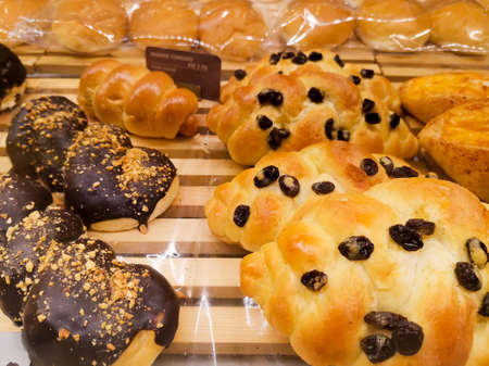 Various Types of Bread in the Bakery, Chocolate and Raisin Breads