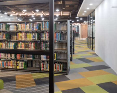 Library with book shelves, on blur 版權商用圖片
