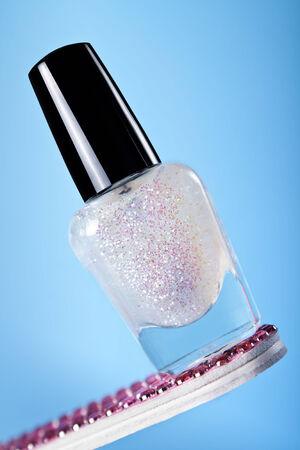 polish: Glitter nail polish Stock Photo
