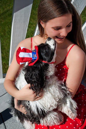 Cute patriotic spaniel dog and American girl photo