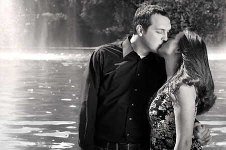 passionately: Romantic couple kiss retro Stock Photo