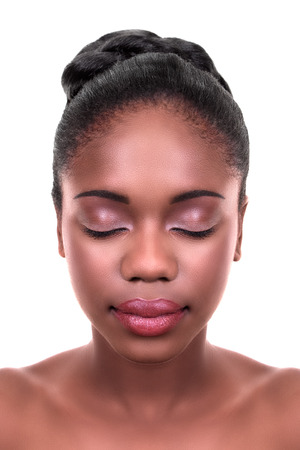 Beautiful African American woman skin care Imagens - 31907153