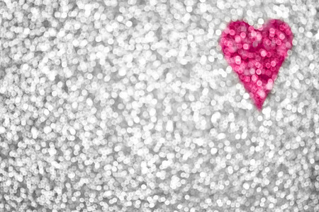 Silver glitter sparkle pink heart background