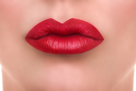 Woman red lips kiss