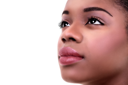 Afro-Amerikaanse zwarte vrouw huid en make-up