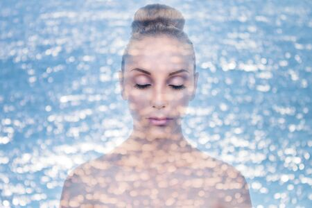 Double exposure of woman with water for skin moisturizer concept photo