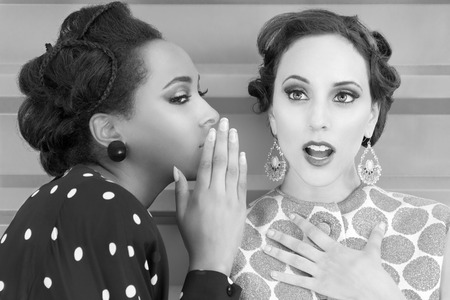 Vintage women chatting and secrets