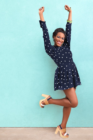 shoes woman: Happy summer African American woman Stock Photo
