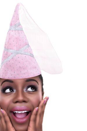 birthday invite: African American girl dressed in princess Halloween costume