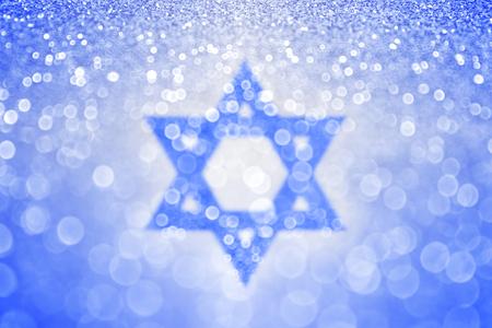 Astratto blu Hanukkah ebraico Stella di David Sfondo. Bar mitzvah Archivio Fotografico - 47389431