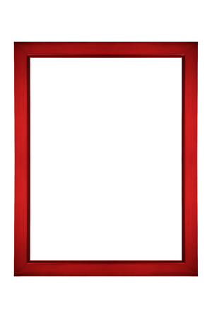 Red picture frame isolated on white