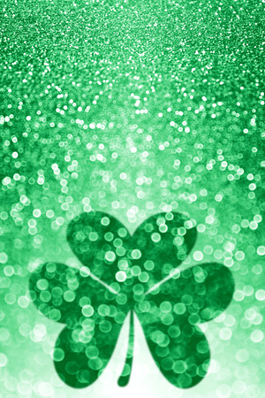 st  patty's: Lucky Irish St Patricks Day shamrock sparkle background party invitation Stock Photo
