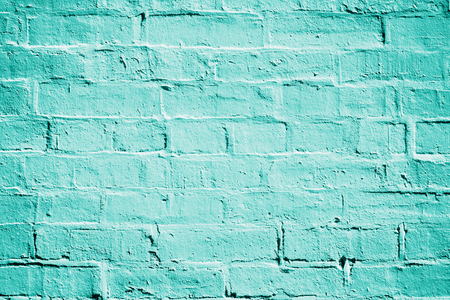 turquise: Teal turquoise or aqua mint green brick wall background texture Stock Photo