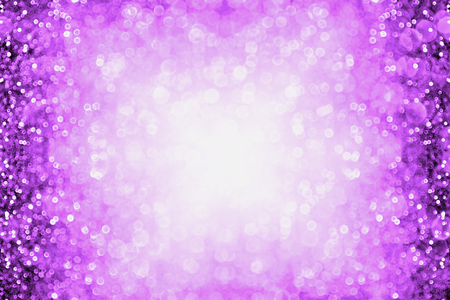 Purple glitter sparkle burst background or party invitation border for happy birthday, Halloween or club