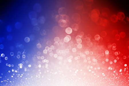 Abstract patriotic red white and blue glitter sparkle explosion background for celebrations, voting, July fireworks, memorial, labor day and elections Banque d'images