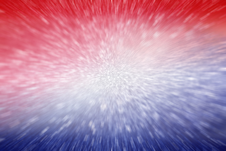 Abstract patriotic red white and blue glitter sparkle explosion blur background for party celebration, vote, July fireworks and sparkler, memorial, labor day, independence, freedom design and election