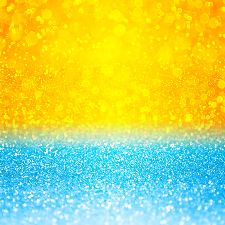 Abstract summer tropical blue and yellow sunset or sunrise sparkle party invite or sunny holiday vacation travel background over sea, lake, ocean, beach, pool or water bubbles pattern with sun design 版權商用圖片