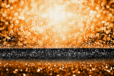 Abstract modern dark orange black glitter sparkle background for happy birthday party invite, spooky Fall Halloween bash magic design, October kid trick or treat night, Thanksgiving or evening sale poster