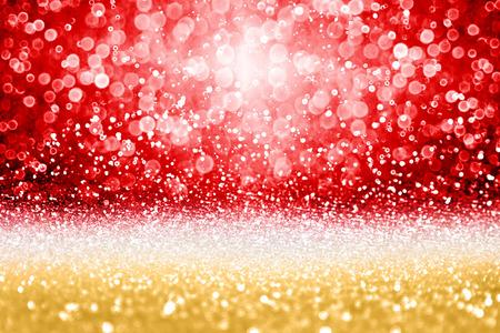 Eleganter Rot- und Goldfunkelnschein Confettihintergrund für goldene glückliche Geburtstagsfeier laden ein, Hochzeitstag, Valentine Day-Liebesschönheit, Rubin- und Diamantglitz, Weihnachtsanzeige oder Sylvester?s